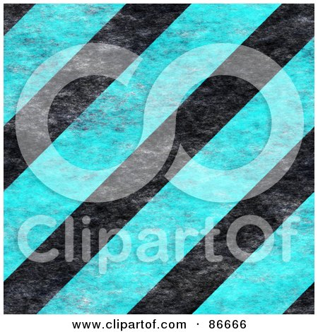 Royalty-Free (RF) Clipart Illustration of a Background Of Grunge Textured Blue And Black Hazard Stripes by Arena Creative