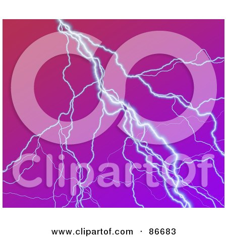Royalty-Free (RF) Clipart Illustration of a Strike Of Lightning Over Purple by Arena Creative