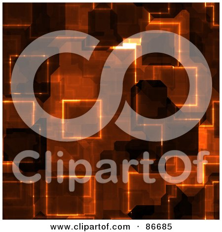 Royalty-Free (RF) Clipart Illustration of a Brown Glowing Circuit Background by Arena Creative