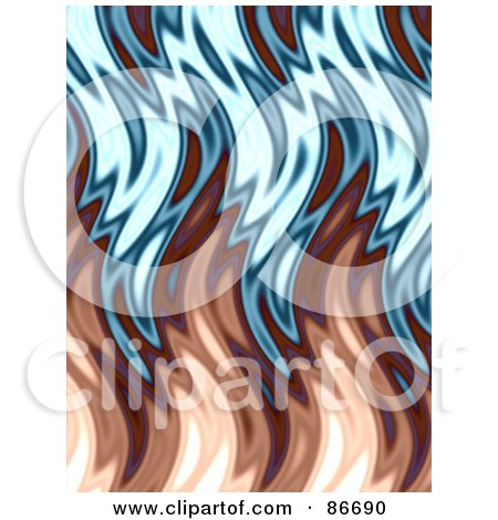 Royalty-Free (RF) Clipart Illustration of a Brown And Blue Wavy Flame Background by Arena Creative