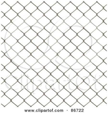 Royalty-Free (RF) Clipart Illustration of a Wire Fence Border Over White by Arena Creative