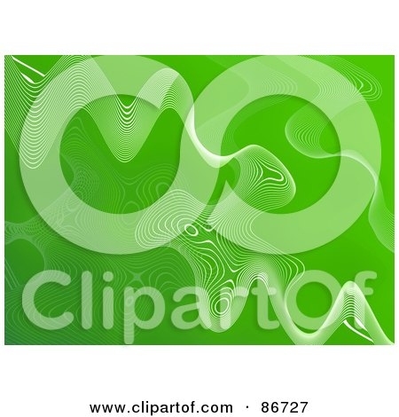 Royalty-Free (RF) Clipart Illustration of a Green Ripply Background With White Mesh Waves by Arena Creative