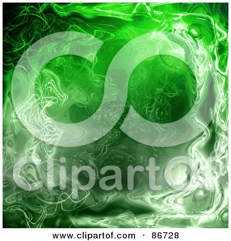 Royalty-Free (RF) Clipart Illustration of a Green Ripply Plasma  Background by Arena Creative