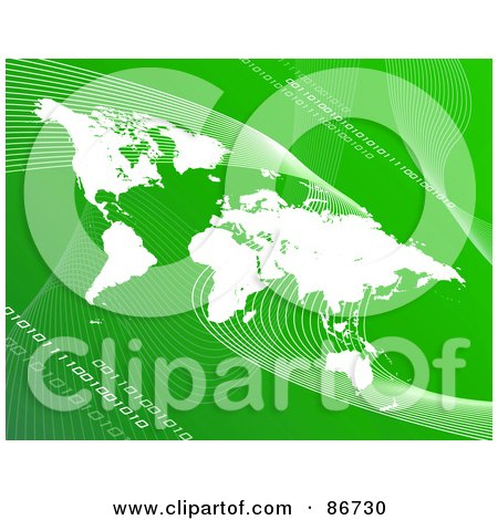 Royalty-Free (RF) Clipart Illustration of a White Atlas Over Green With Mesh Waves And Binary Code by Arena Creative