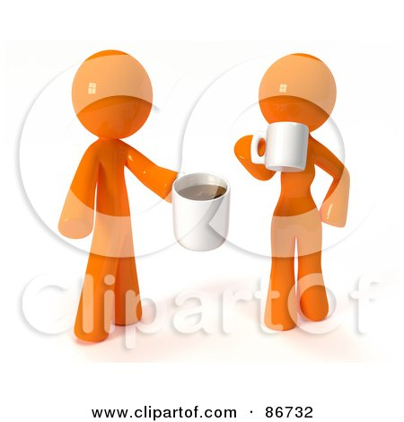 Royalty-Free (RF) Clipart Illustration of a 3d Orange Man And Woman Standing And Drinking Coffee by Leo Blanchette