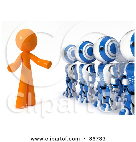 Royalty-Free (RF) Clipart Illustration of a 3d Orange Man Man Speaking To A Line Of Ao-Maru Robots by Leo Blanchette