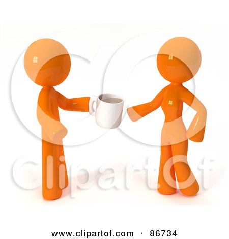 Royalty-Free (RF) Clipart Illustration of a 3d Orange Man Giving A Woman CoffeeCoffee by Leo Blanchette