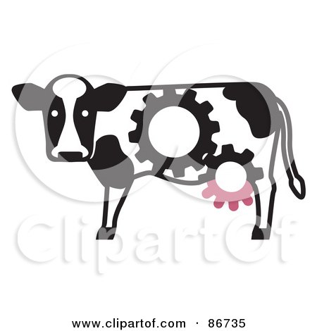 Royalty-Free (RF) Clipart Illustration of a Dairy Cow With Gear Cog Markings And Udders by Leo Blanchette