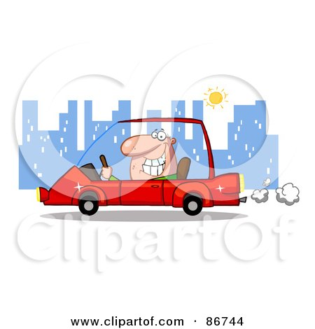 Royalty-Free (RF) Clipart Illustration of a Grinning Man Driving A Red Car In The City by Hit Toon