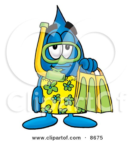 Water Drop Mascot Cartoon Character in Green and Yellow Snorkel Gear Posters, Art Prints