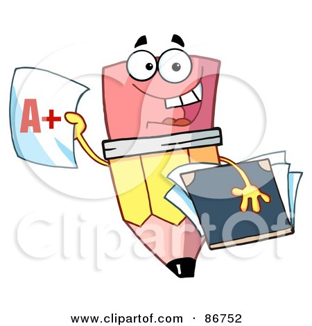 Royalty-Free (RF) Clipart Illustration of a Pencil Guy Holding An A Plus Report Card by Hit Toon