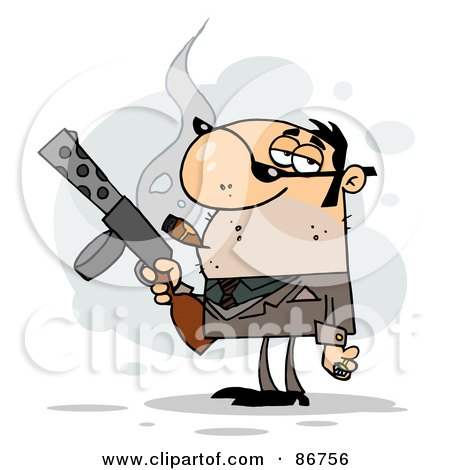 Royalty-Free (RF) Clipart Illustration of a Tough Cigar Smoking Gangster Holding A Submachine Gun by Hit Toon