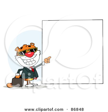Royalty-Free (RF) Clipart Illustration of a Tiger Character Pointing To A Blank Sign by Hit Toon