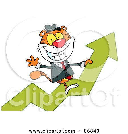 Royalty-Free (RF) Clipart Illustration of a Successful Tiger Character Riding Upwards On A Statistics Arrow by Hit Toon