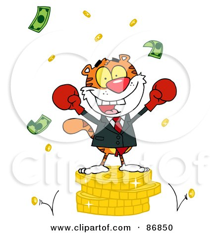 Royalty-Free (RF) Clipart Illustration of a Successful Tiger Wearing Boxing Gloves And Standing On A Stack Of Coins by Hit Toon