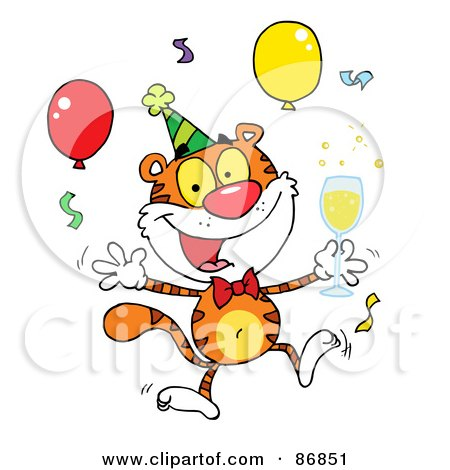 Royalty-Free (RF) Clipart Illustration of a Happy Party Tiger Character With Champagne by Hit Toon
