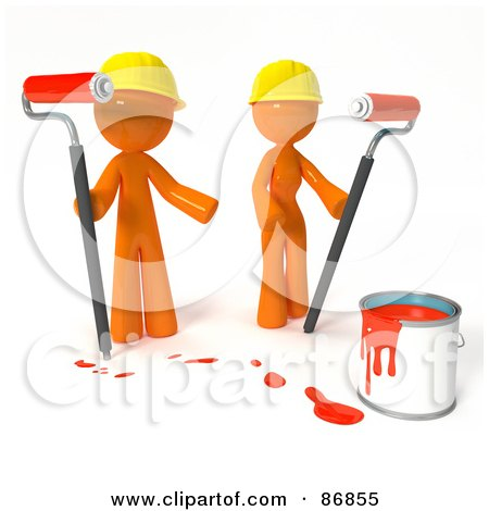 3d Orange Man And Woman With A Bucket Of Red Paint And Roller Brushes Posters, Art Prints