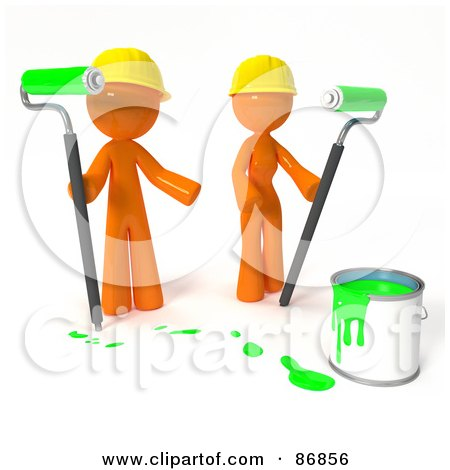 3d Orange Man And Woman With A Bucket Of Green Paint And Roller Brushes Posters, Art Prints