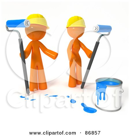 Royalty-Free (RF) Clipart Illustration of a 3d Orange Man And Woman With A Bucket Of Blue Paint And Roller Brushes by Leo Blanchette