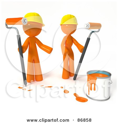 Royalty-Free (RF) Clipart Illustration of a 3d Orange Man And Woman With A Bucket Of Orange Paint And Roller Brushes by Leo Blanchette