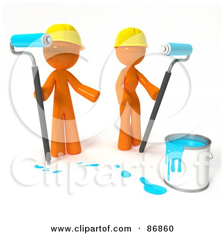 Royalty-Free (RF) Clipart Illustration of a 3d Orange Man And Woman With A Bucket Of Turquoise Paint And Roller Brushes by Leo Blanchette