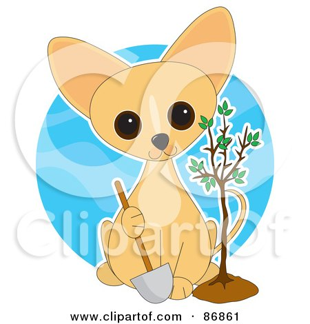 Royalty-Free (RF) Clipart Illustration of a Adorable Arbor Day Chihuahua Puppy Holding A Shovel And Sitting By A Freshly Planted Tree by Maria Bell