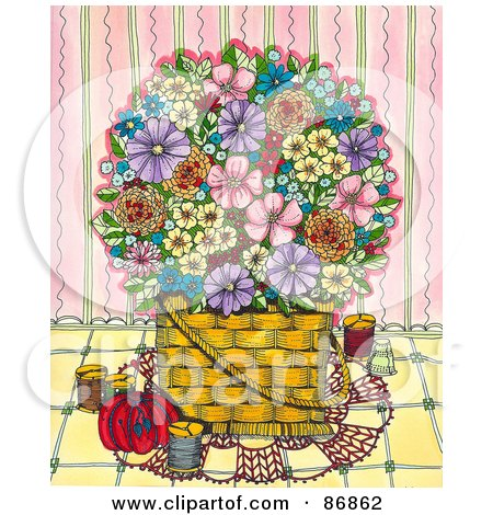 Royalty-Free (RF) Clipart Illustration of a Basket Of Colorful Flowers With Sewing Items, Against A Pink Wall by Maria Bell