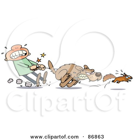 Guy Struggling To Hold Back His Dog From Chasing A Squirrel Posters, Art Prints