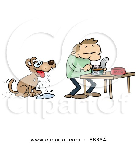 Royalty-Free (RF) Clipart Illustration of a Dog Drooling While His Master Prepares A Dish Of Wet Food by gnurf