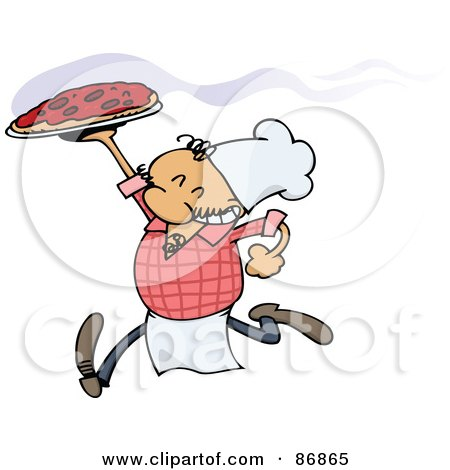 Royalty-Free (RF) Clipart Illustration of a Running Pizza Chef Carrying A Hot Pie by gnurf