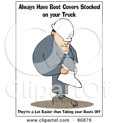 Royalty-Free (RF) Clipart Illustration of a Work Safety Warning Of A Man Putting On Boot Covers by djart