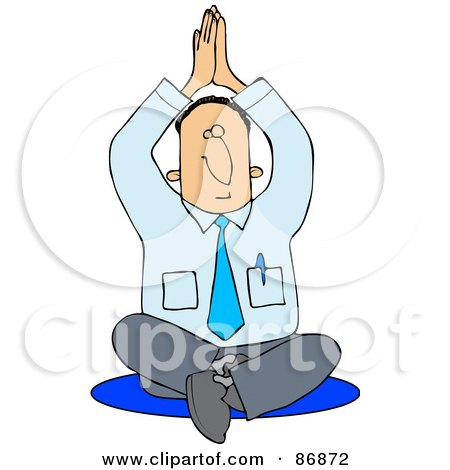 Royalty-Free (RF) Clipart Illustration of a Meditating Businessman Sitting On The Floor In A Yoga Pose by djart