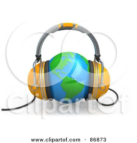 Royalty-Free (RF) Clipart Illustration of a Pair Of 3d Headphones Over A Shiny Globe by 3poD