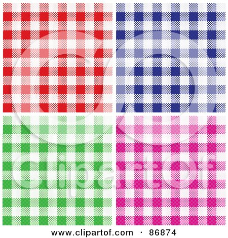Royalty-Free (RF) Clipart Illustration of a Digital Collage Of Red, Blue, Green And Pink Checkered Table Cloth Background Patterns by Paulo Resende