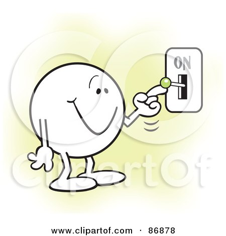 Royalty-Free (RF) Clipart Illustration of a Moodie Character Smiling And Flipping A Switch On by Johnny Sajem