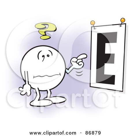 Royalty-Free (RF) Clipart Illustration of a Nearly Blind Moodie Character Trying To See A Giant E Eye Chart by Johnny Sajem