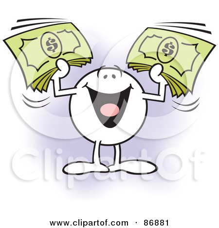 Royalty-Free (RF) Clipart Illustration of a Moodie Character Holding Up Bundles Of Cash by Johnny Sajem