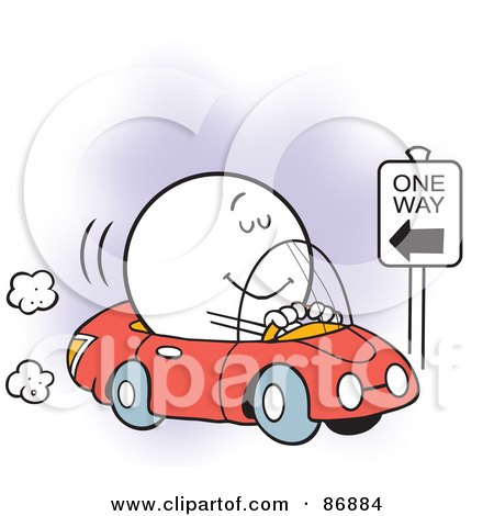 Royalty-Free (RF) Clipart Illustration of an Oblivious Moodie Character Driving The Wrong Way by Johnny Sajem