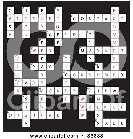 Royalty-Free (RF) Clipart Illustration of a WWW Vocabulary Crossword Puzzle On Gray by MacX