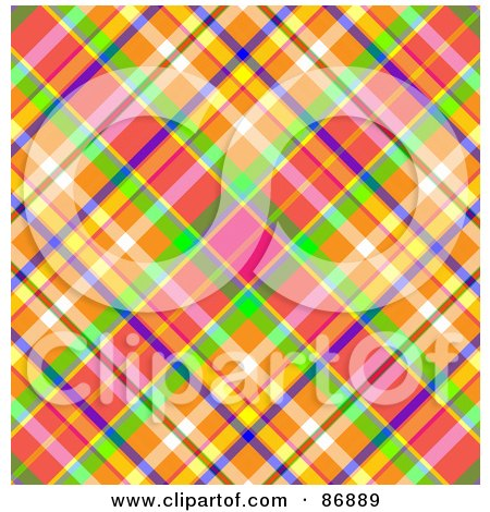 Royalty-Free (RF) Clipart Illustration of a Pink, Orange, Purple And Green Tartan Plaid Background Pattern by MacX