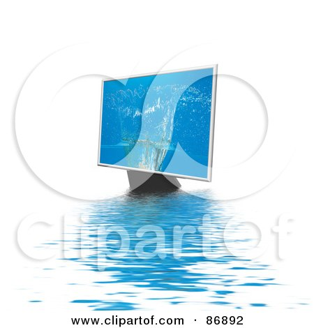 Royalty-Free (RF) Clipart Illustration of a Water Splash On A Monitor Over Rippling Water by MacX