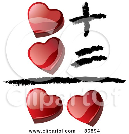 Royalty-Free (RF) Clipart Illustration of Shiny Red 3d Hearts Equaling Love by MacX
