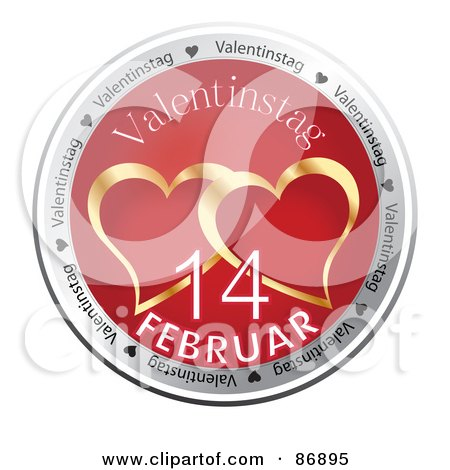 Royalty-Free (RF) Clipart Illustration of a Shiny Red And Gold Valentinestag Button by MacX