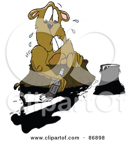 Royalty-Free (RF) Clipart Illustration of a Nervous Groundhog Trying To Paint Over His Shadow by Spanky Art