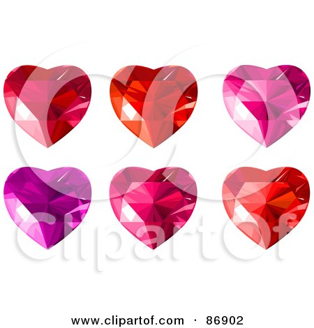 Royalty-Free (RF) Clipart Illustration of a Digital Collage Of Red, Purple And Pink Diamond Hearts by Pushkin