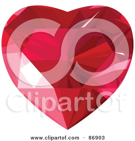 Royalty-Free (RF) Clipart Illustration of a Red Faced Diamond Heart - Version 2 by Pushkin