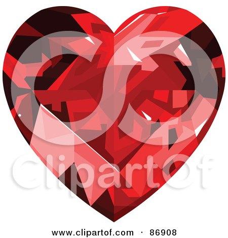 Royalty-Free (RF) Clipart Illustration of a Ruby Diamond Heart by Pushkin