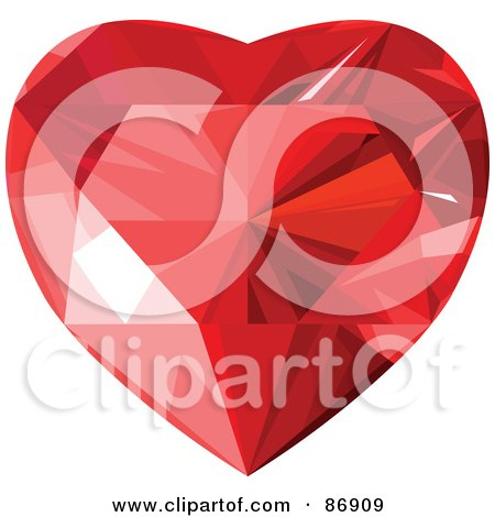 Royalty-Free (RF) Clipart Illustration of a Red Faced Diamond Heart - Version 3 by Pushkin