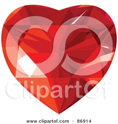 Royalty-Free (RF) Clipart Illustration of a Red Faced Diamond Heart - Version 1 by Pushkin