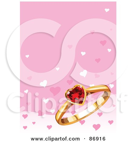 Royalty-Free (RF) Clipart Illustration of a Pink Background With A Ruby Heart And Gold Ring by Pushkin